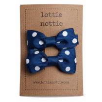 lottie nottie - Navy Polka Dot Bows Hair Clips