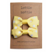 lottie nottie - Yellow Polka Dot Bows Hair Clips