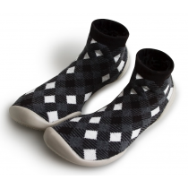 Collegien Slippers for Dad - Black Tartan