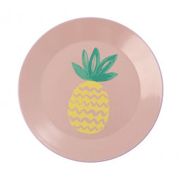 Rice - Coral Enamel Lunch Plate - Pineapple