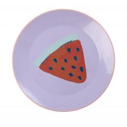 Rice - Lavendar Enamel Lunch Plate - Watermelon