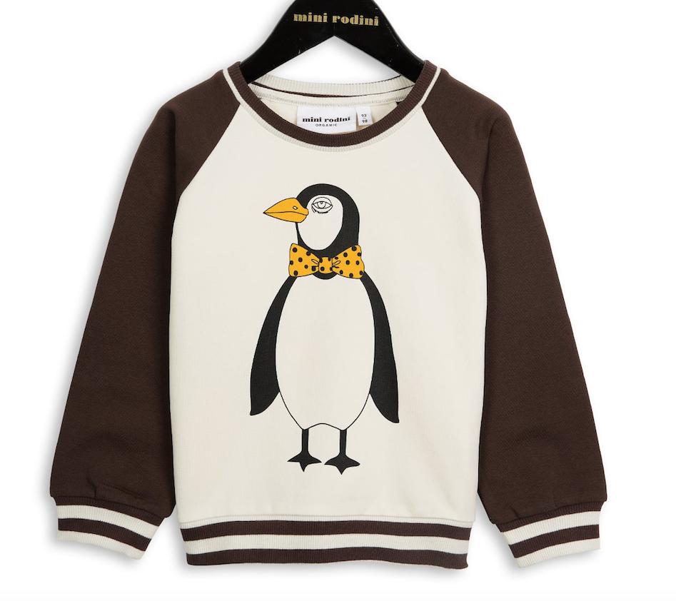 7313ad9902 mini rodini - penguin sweatshirt chocolate