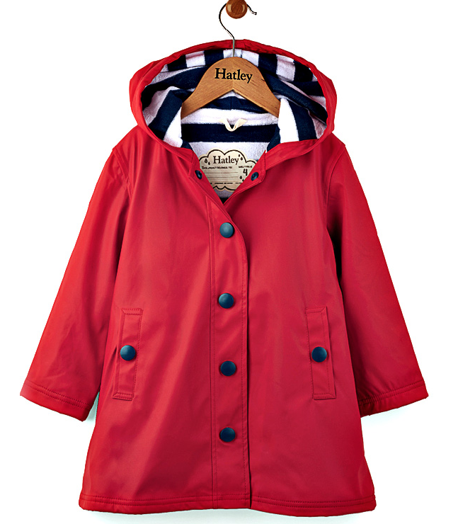 Girls Hatley Raincoat - Red Splash Jacket