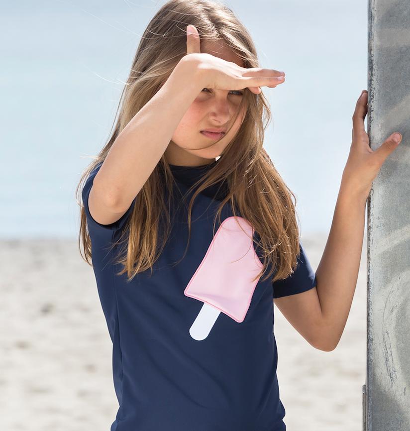 Petit Crabe - Short Sleeved Swimshirt - Navy Ice Cream