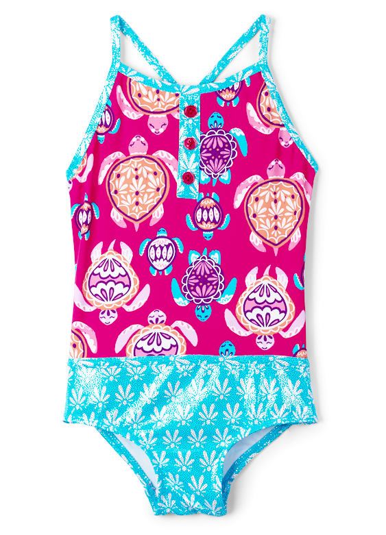 Hatley Swimwear | Girls Colourblock Swimsuit | Sea Turtles |