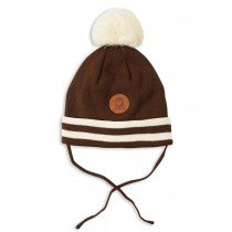 mini rodini - Panda Stripe Bobble Hat in Chocolate