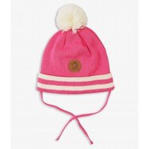 mini rodini - Panda Stripe Bobble Hat in Pink