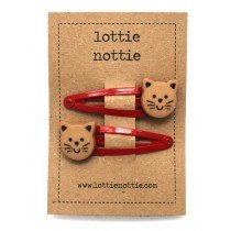 lottie nottie - Hair Clip - Cats on Red