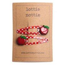 lottie nottie - Apples on Spotty Red - Hair Clips