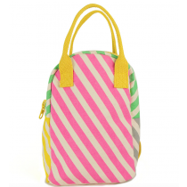 FLUF - ZIPPER ORGANIC LUNCH BAG - Candy Stripe