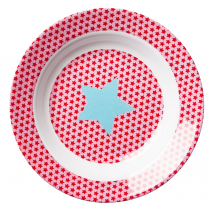 Rice - Kids Melamine Bowl - Star Print in Pink