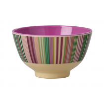 Rice - Small Melamine Bowl - 'Today is Fun' Stripe Print