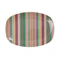 Rice - Melamine Rectangular Plate - 'Today is Fun' Stripe Print