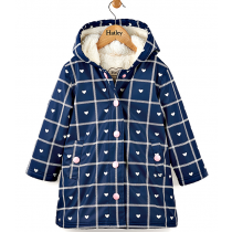 Girls Hatley Raincoat - Navy Hearts Splash Jacket