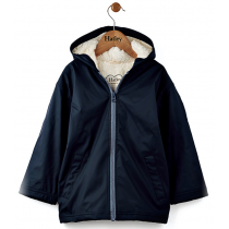 Boys Hatley Raincoat - Navy Sherpa Lined Jacket