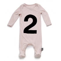 nununu - NUMBER FOOTIE OVERALL - powder pink
