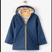 Boys Hatley Raincoat - Navy & Yellow Splash Jacket