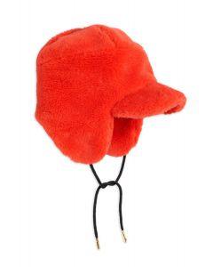 Mini Rodini | Faux Fur Cap in Red