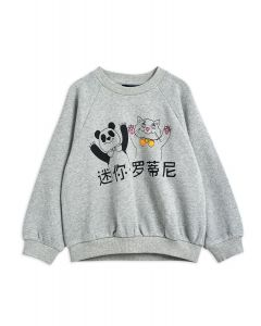 Mini Rodini | Cat & Panda Sweatshirt | Grey Marl