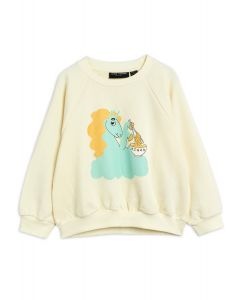 Mini Rodini | Unicorn Noodles Sweatshirt in Off White | Organic Cotton
