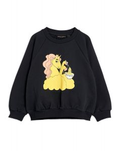 Mini Rodini | Unicorn Noodles Sweatshirt in Black | Organic Cotton