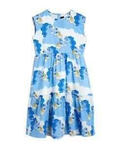 Mini Rodini | Unicorn Noodles  Woven Long Dress | Blue
