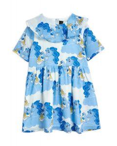 Mini Rodini | Unicorn Noodles  Woven Short Sleeve Dress | Blue