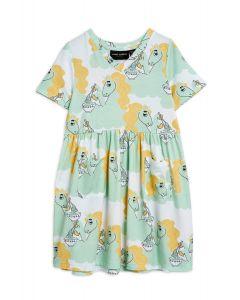 Mini Rodini | Unicorn Noodles  Short Sleeve Dress | Green