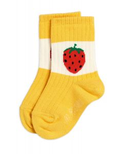 Mini Rodini | Strawberry Ribbed Socks | Yellow