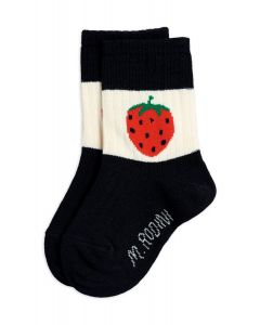 Mini Rodini | Strawberry Ribbed Socks | Black