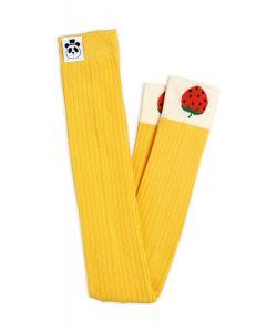 Mini Rodini | Ribbed Strawberry Leggings | Yellow