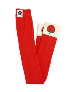 Mini Rodini | Ribbed Strawberry Leggings | Red