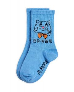 Mini Rodini | Cat Socks in Light Blue | Organic Cotton