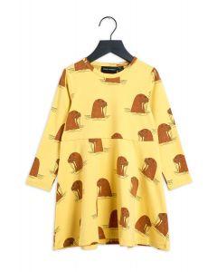 Mini Rodini Walrus Long Sleeve Dress | Yellow