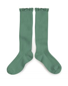 Collegien Josephine Knee High Socks | Lace Trim | Celadon