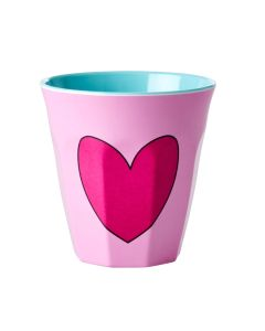 Rice Melamine Cup   Heart in Pink