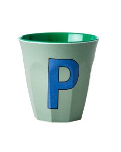 Rice Melamine Cup   Letter O in Green