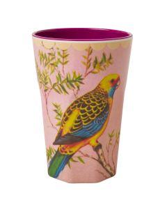 Rice Tall Melamine Cup | Green Bird
