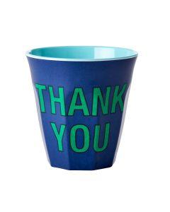 Rice Melamine Cup   Thankyou in Dark Blue   SKiN&BLiSS