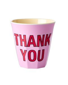 Rice Melamine Cup   Thank You in Pink