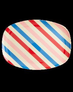 Rice Melamine Children's Rectangular Plate | Candy Stripes