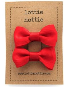 Lottie Nottie | Small Bows Hair Clips | Red
