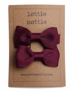 lottie nottie | small bows hair clips | burgundy