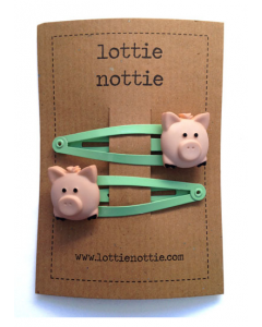 lottie nottie - PIGS - Green Hair Clips