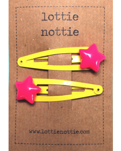 lottie nottie - Pink Star on Yellow Clips