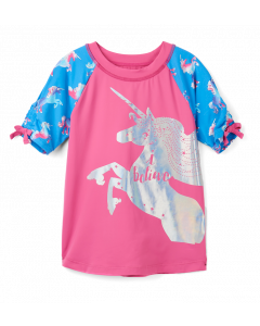 Hatley Swimwear | Girls Rashguard  | Rainbows Unicorn