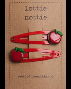 lottie nottie | girls hair clips | apples