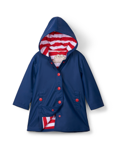 Girls Hatley Raincoat - Navy Splash Jacket