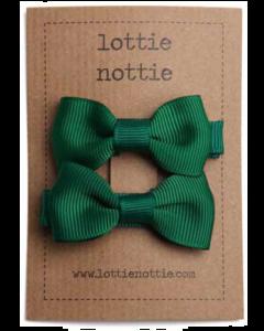 Lottie Nottie Small Bows - Dark Green