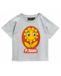 Mini Rodini | Flower Tee Shirt | Grey Marl